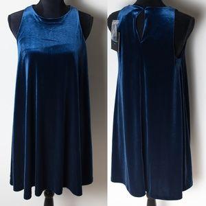 NWT Cynthia Rowley Blue Velvet Sleeveless Dress